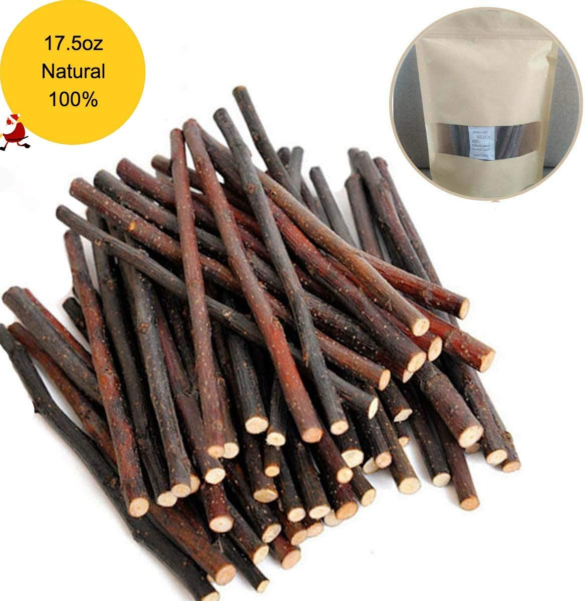 KaiChuangTong 200g Natural Apple Sticks Small Animals Molar Wood Treats Toys Chinchilla Guinea Pig Hamster Rabbit Gerbil Parrot Bunny and Small Animals Chew Stick Toys Treats