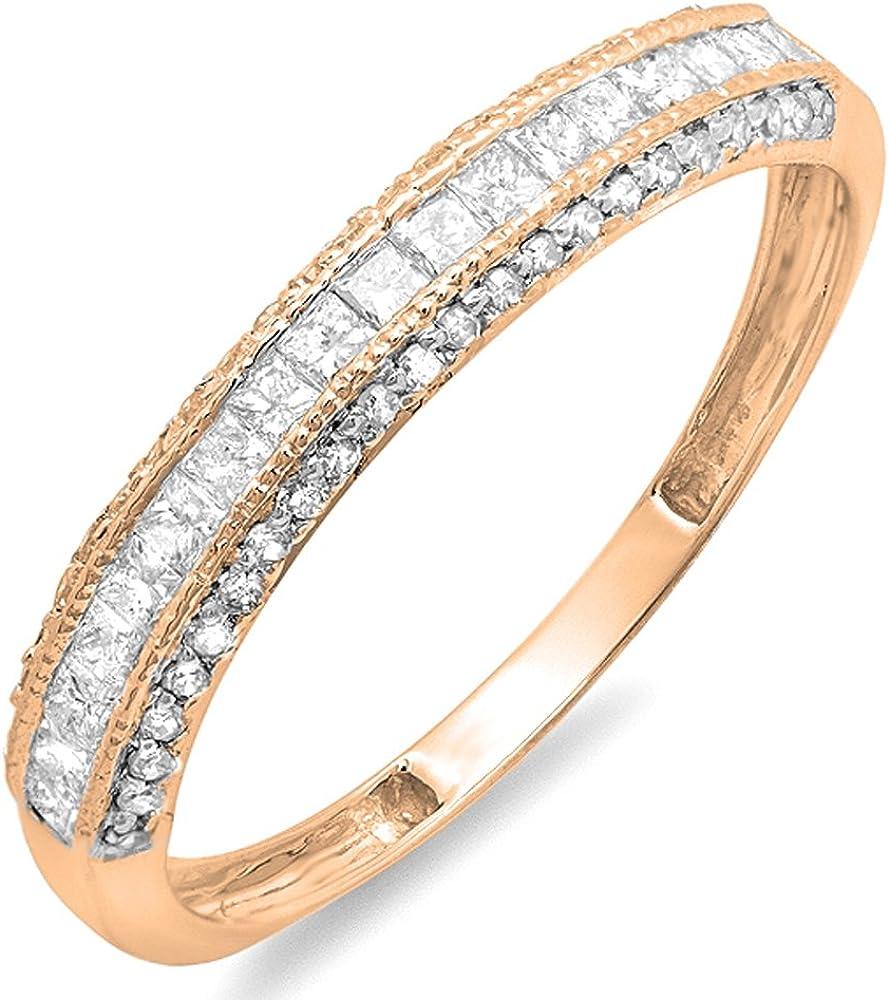 Dazzlingrock Collection 0.45 Carat (ctw) 10k Gold Princess & Round Diamond Ladies Wedding Matching Band Stackable Ring 1/2 CT