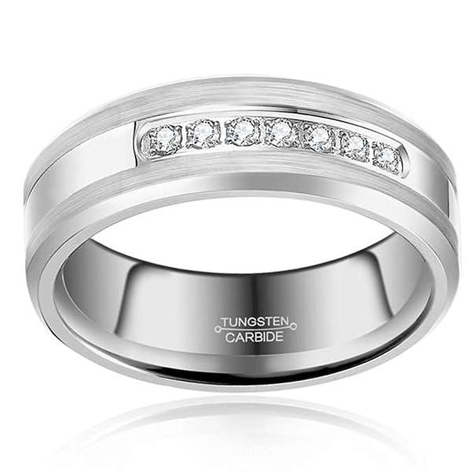 Tungsteno Anillo Cubic Zirconia boda banda anillo de 6 mm para hombres mujeres, curvada, pulido borde mate cepillado acabado: Amazon.es: Joyería