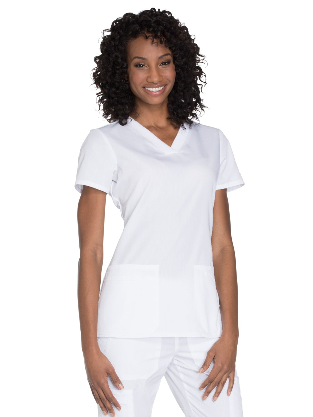Cherokee Workwear Originals Women's Knit V-Neck Solid Scrub Top Large White by Cherokee (Image #1)