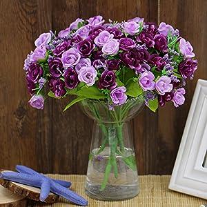 "1 Bouquet 21 Head 9"" Artifical Fake Rose Wedding Party Home Decor Silk Flower (Purple) 2"