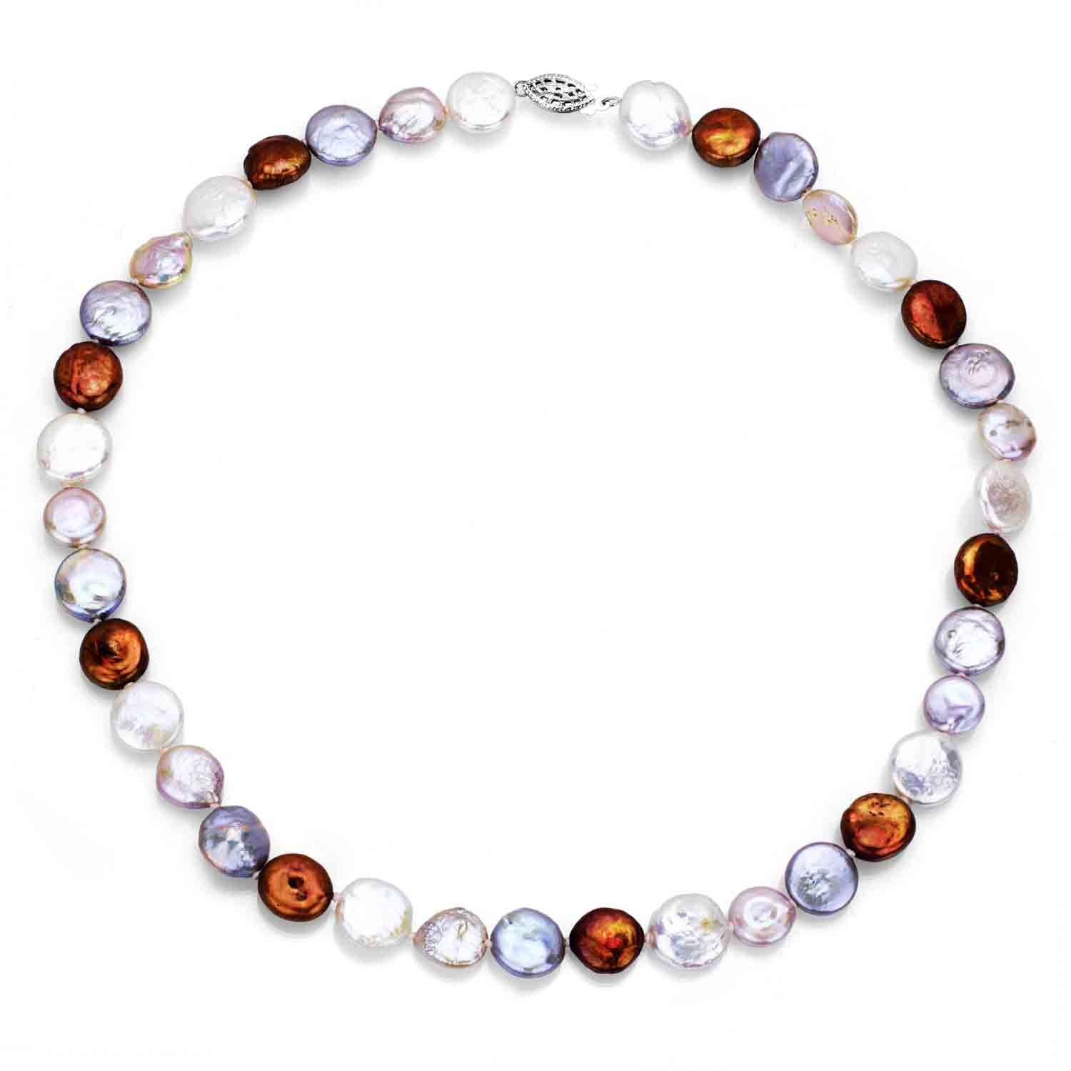 Sterling Silver 9-9.5mm Dyed Multi-color Coin Shape Freshwater Cultured Pearl Necklace, 18''