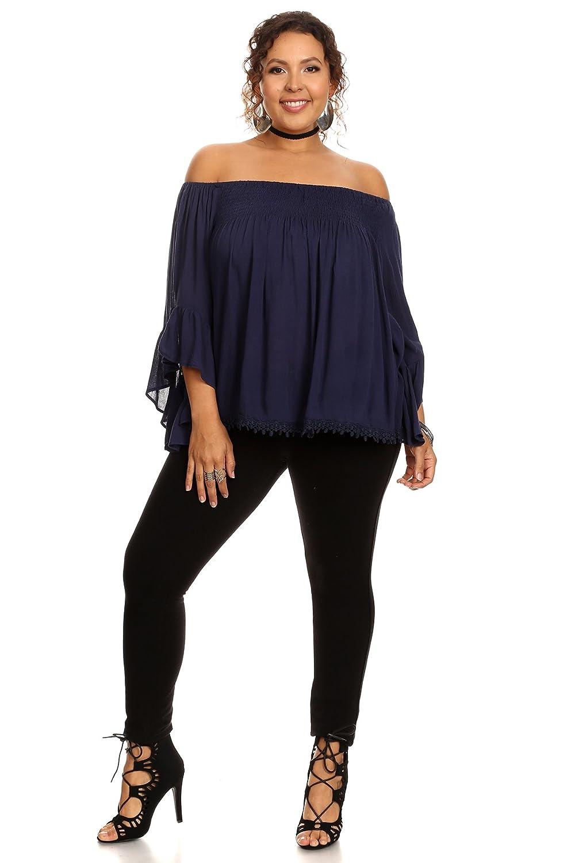 Myrna - Womens Plus Size Off Shoulder Smocked Top