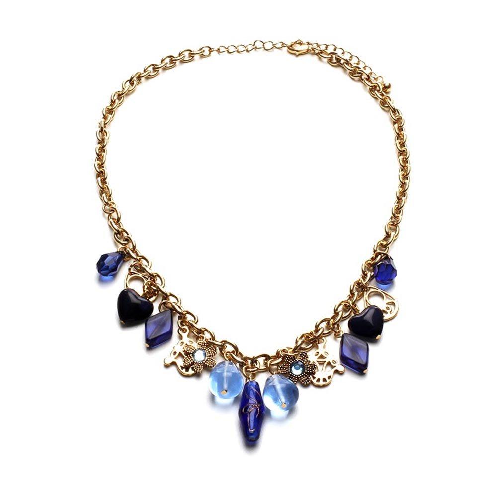 LookLove Women's Jewelry Blue Glass Bead Statement Necklace
