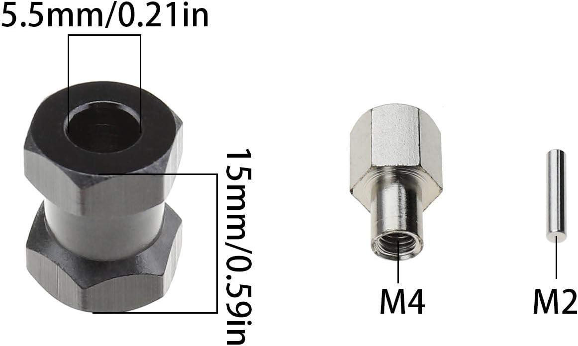 4 St/ücke 12mm RC Radnaben Sechskantverl/ängerer 15mm Verl/ängerungs mit Stiftmuttern f/ür RC 1//10 Raupenwagen