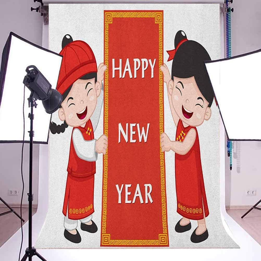 7x10 FT Chinese New Year Vinyl Photography Backdrop,Cheerful Children in Traditional Costumes Holding a Celebration Sign Background for Photo Backdrop Baby Newborn Photo Studio Props