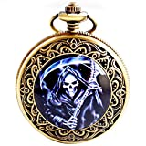 BoShiYa Vintage Stainless Steel Skull Pocket Watch Grim Reaper Cosplay Dress Watch with Chain Purple
