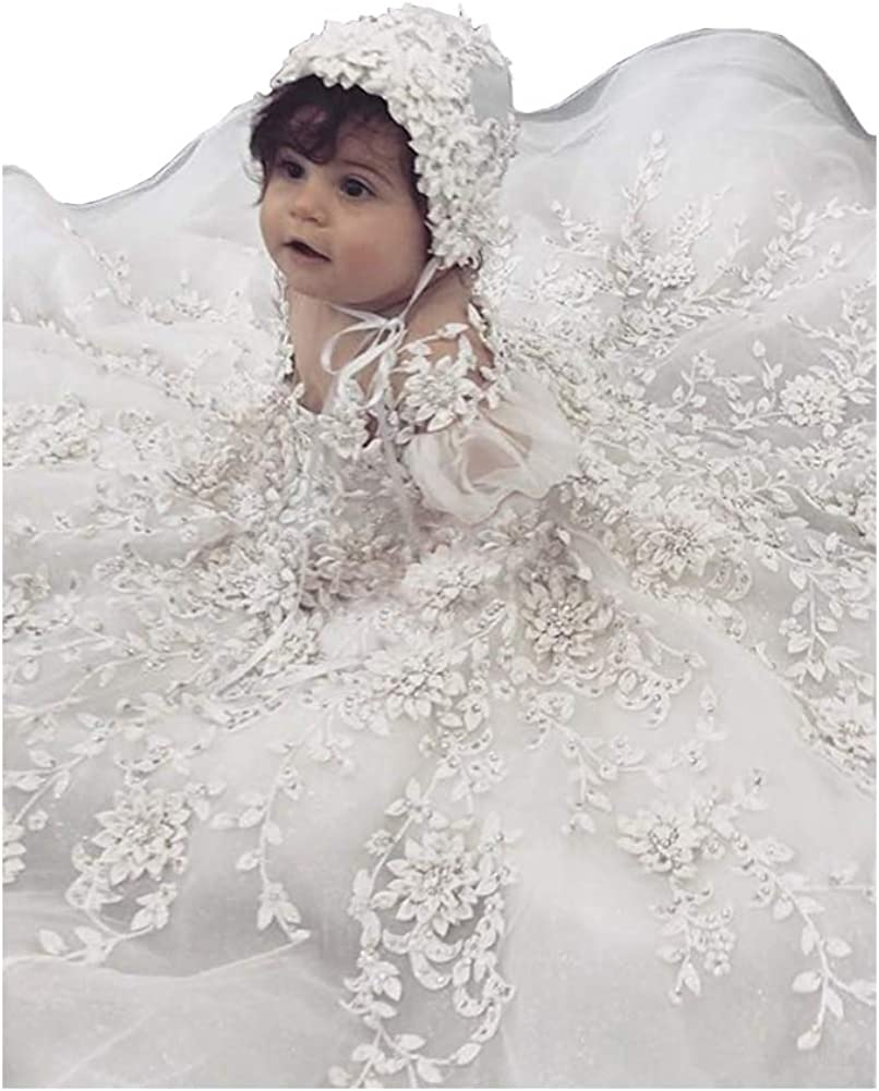 Amazon.com: Luxury Baby Girls Christening Gowns Lace Crystal 6D