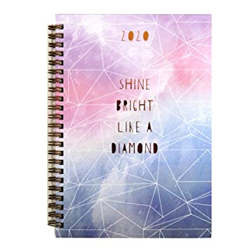 2020 Wirebound Glam A5 Week to View Diary Bright Like a Diamond or The Future