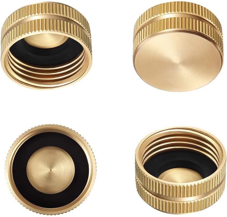 "GaiGaiMall 4 Pack Garden Hose Cap 3/4"" Brass Outdoor Faucet Caps with Washers"
