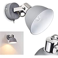 Wandlamp Dompierre, verstelbare wandlamp van metaal in grijs/wit, 1-vlam, 1 x E14-fitting max. 25 watt, wandspot in…