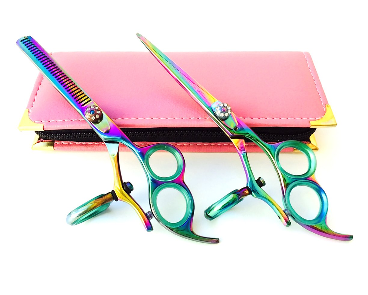 """3 Ring Swivel 6.0"""" Professional Hair Cutting Scissors Thinning Barber Shears Hand Made with Convex Edge with 30 Days Return"""