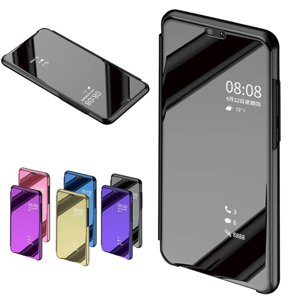 Nadoli fü r Huawei Y6 2018 / Honor 7A Spiegel Hü lle, Mirror Effect PU Leder Hü lle Transparent Handytasche Flip Cover Standfunktion fü r fü r Huawei Y6 2018 / Honor 7A, Blau