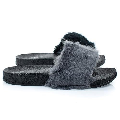 0f0b6b232a4d15 Izzy24FBA- Black Fluffy Furry Faux Fur Single Band Slide in Slipper Sandal  Footbed Folding -