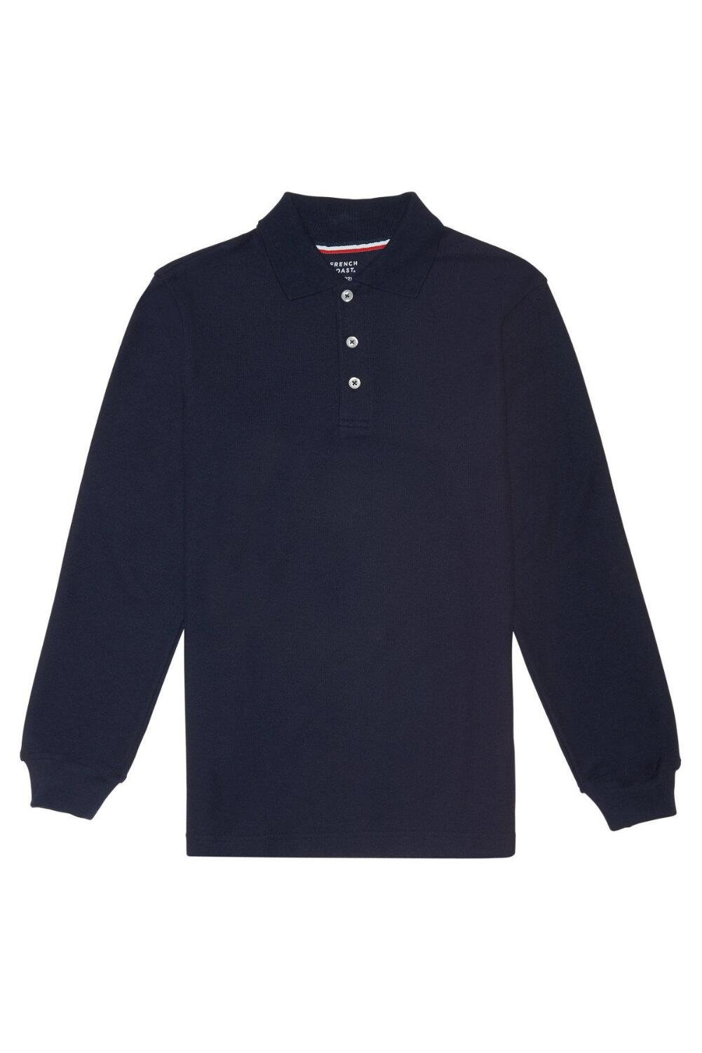 French Toast Boys' Long-Sleeve Pique Polo Shirt, Navy, X-Large/18-20 Husky