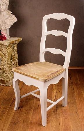 Vintage Stuhl Holz Shabby Chic Weiss Palazzo Exclusiv Amazon De