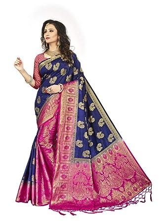 504bb34c6d Nirja Creation Blue Color Women Silk Banarasi saree: Amazon.in: Clothing &  Accessories