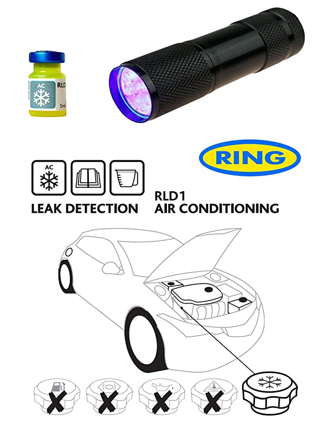 28 LED Light Auto Air Conditioning Detector Leak Test Flashlight// electric torch