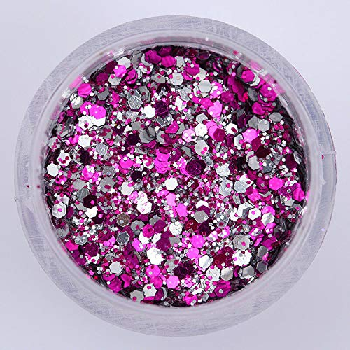 10ml/Box Nail Art Glitter Powder Sequins White Silver Pink Holographic 3D Decor (Pattern - 3050)