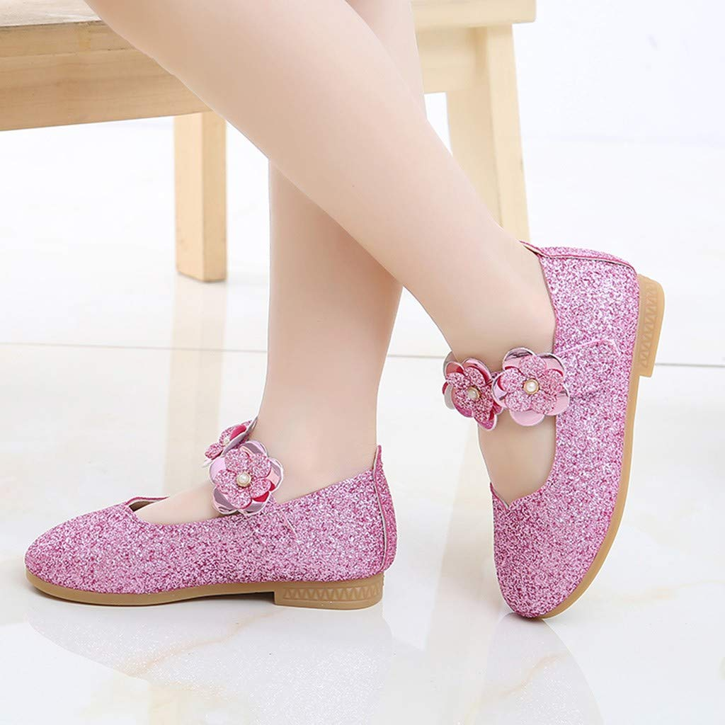 Sharemen Toddler Infant Kids Baby Girls Flower Bling Sequins Single Princess Casual Shoes