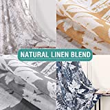 Printed Linen Blended Curtains for Bedroom Window Treatment Linen Drapes 84 inch Long Grommet Top Flower Navy Blue Leaf Print Design Vintage Living Room Curtain Panels (Navy, 84 inch Long, 1 Pair)