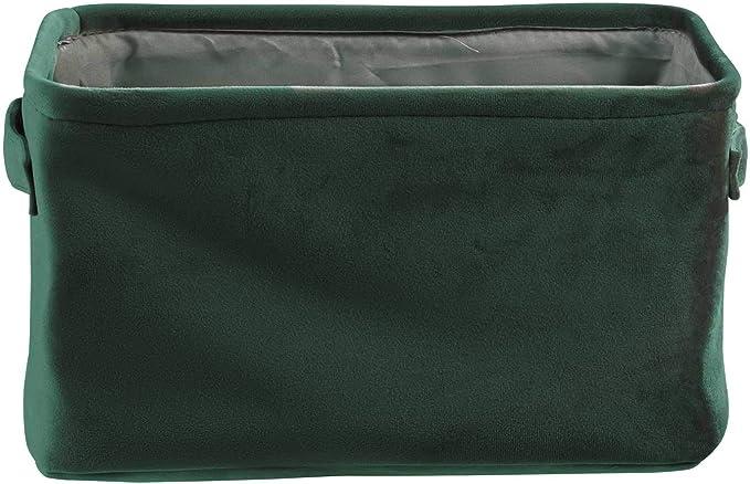 Aufbewahrungskorb Dekokorb Regalkorb mit Griffen Samt Rosa 30x16x21 cm