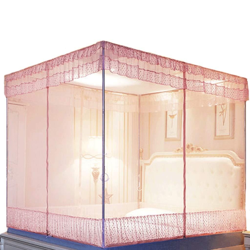 ダストトップ蚊帳ジッパードロップ子供1.5 / 1.8メートルベッド2メートル家庭用蚊帳暗号化肥厚王女の風 (色 : A, サイズ さいず : 1.5m bed) 1.5m bed A B07S7HZ493