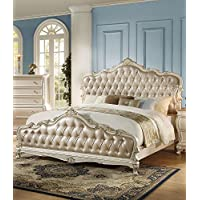 ACME Chantelle Rose Gold and Pearl White Eastern King Bed
