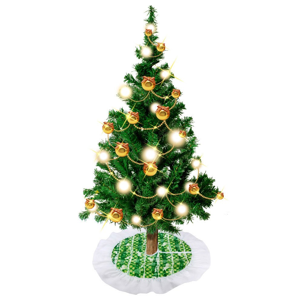 callm Christmas Tree Skirt,62cm Santa Claus Tree Skirt Christmas Tree Skirts Xmas Tree Decoration (Green)
