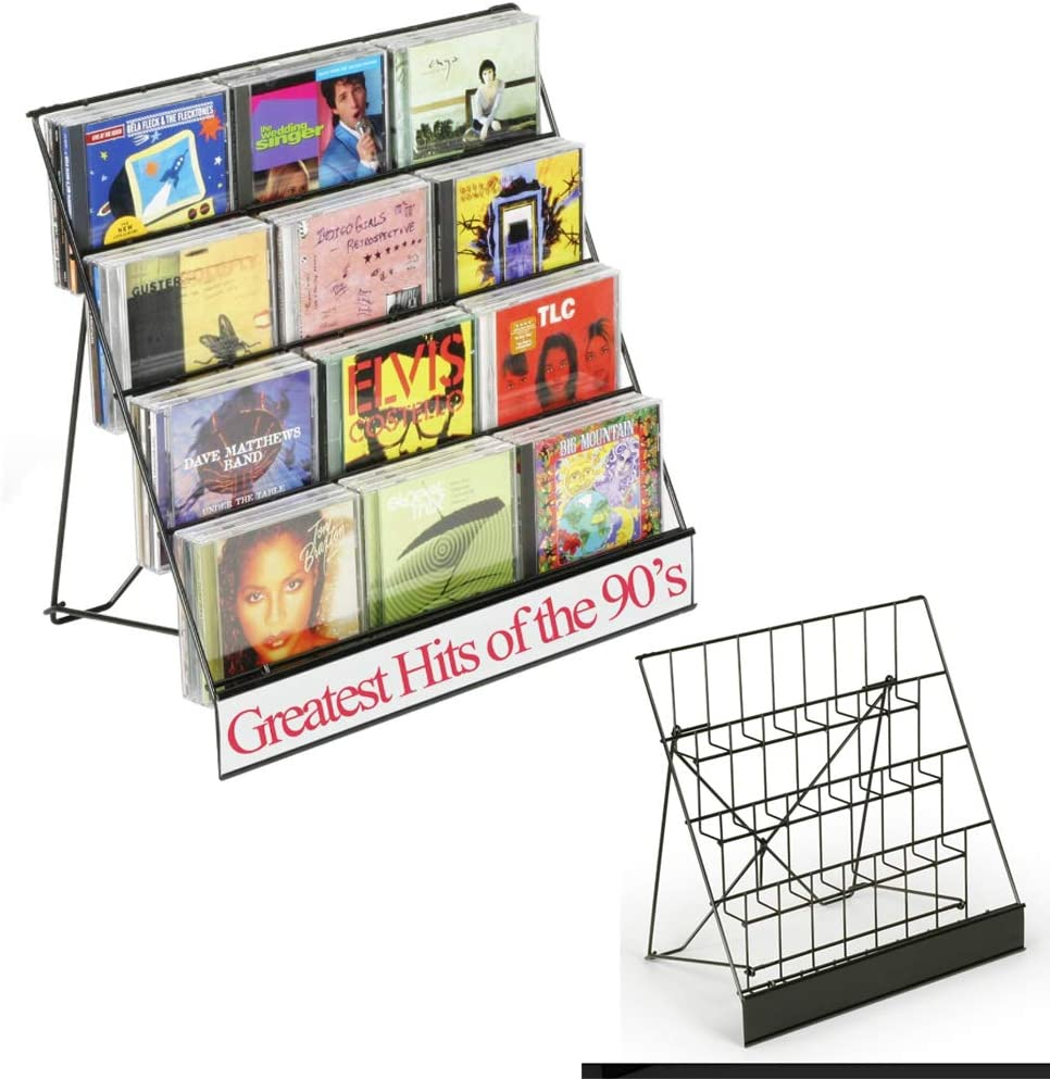 Four 4 Tier Wire Rack Display Magazine Stand with 2-1//2D Pockets CD Set of 2