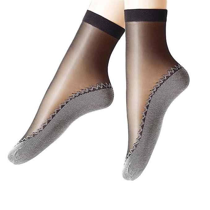 riesiges Inventar bis zu 60% sparen Genieße den kostenlosen Versand JYOHEY 5 Paar Nylon Socken Damen Seidenstrümpfe Ultradünne Transparente  Kristall Socken Anti-Rutsch-Baumwollsohle Elastische Kurze Socken Damen ...