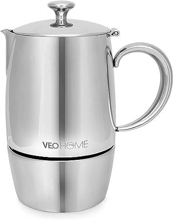 VeoHome - Cafetera Italiana de Acero Inoxidable 6 tazas 300 ml – Cafetera Moka Italiana para cocinas Inducción ...