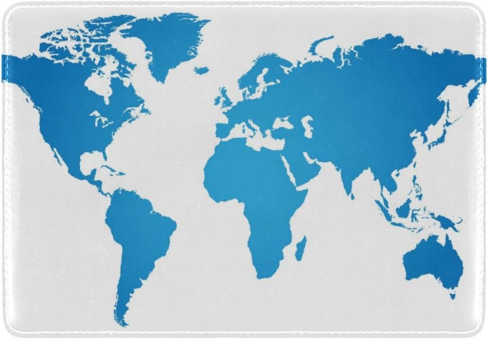 Cooper girl Blue World Map Passport Cover Holder Case Leather Protector for Men Women Kid