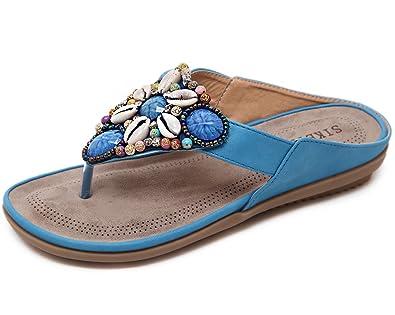 Gaatpot Zehentrenner Sandalen Damen Flip-Flops Böhmen Sommerschuhe Strass Sandaletten Flache PU Leder Pantolette Größe 35-45 gGSLlE3x