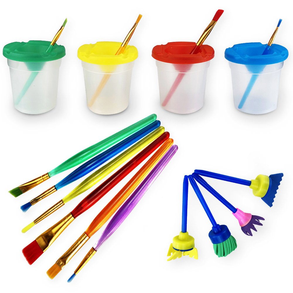 Newbested Set of 14 Pack No-Spill Paint Cups,Painting Brushes for Kids by Newbested