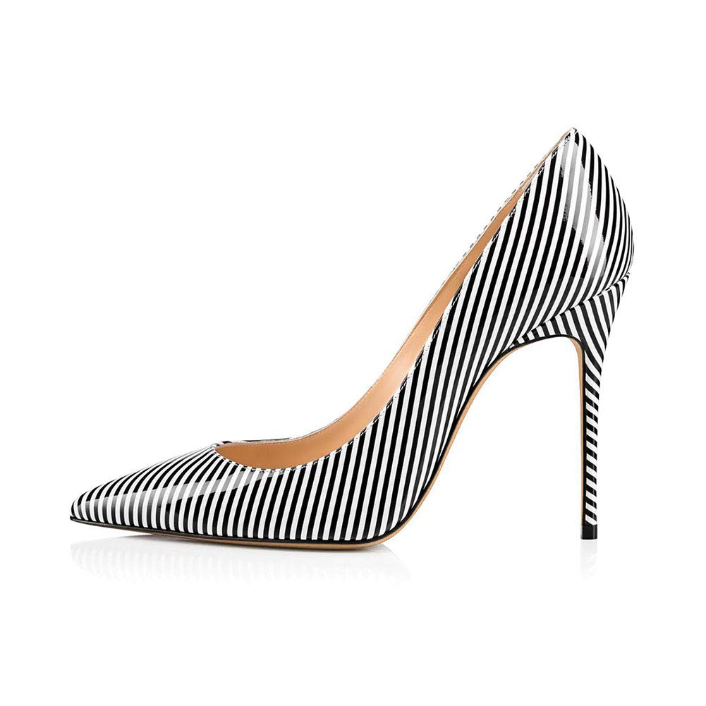 Stripe Women's Pointed Closed Toe High Heel Single shoes Non-Slip Wear Resistant Breathable High Heel Pumps Cozy Dress shoes (Heel Height  13 cm)