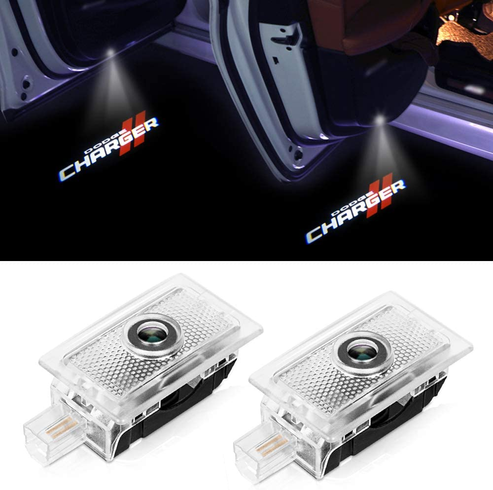 Car Door Logo Lights for Dodge Charger 2006-2018 LED Lamp Projector Shadow Ghost Emblem Welcome Puddle Lights Replacement Auto Accessories 2PCS