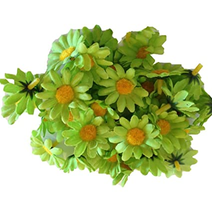 Amazon 100pcs lime green mini silk flower heads gerber lime green mini silk flower heads gerber daisies artificial flowers wholesale lot mightylinksfo