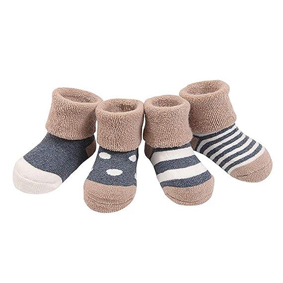 Ruimada 4 pares espesar calcetines antideslizantes 4 pares 0-36 meses variedad de colores transpirable