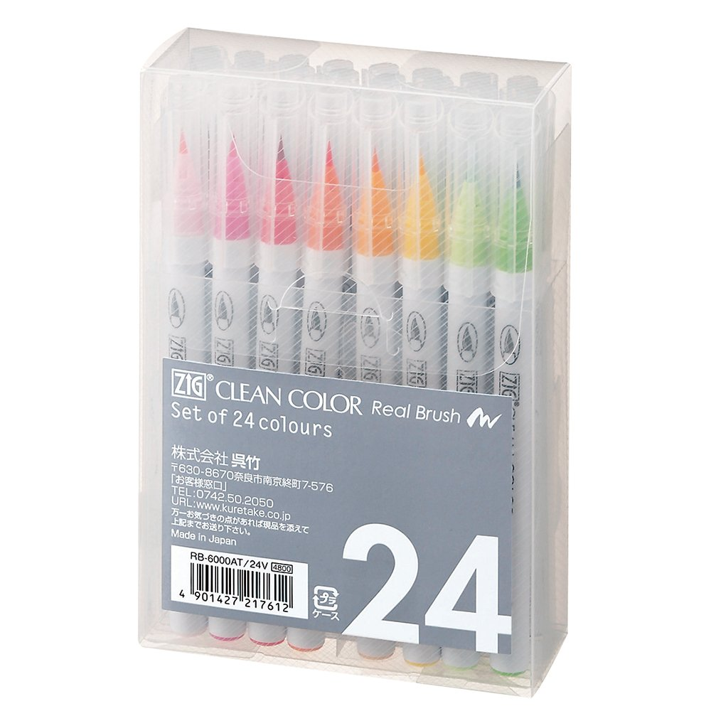 Kuretake Fude Real Brush Pen, Clean Color, 24 Set (RB-6000AT/24V)
