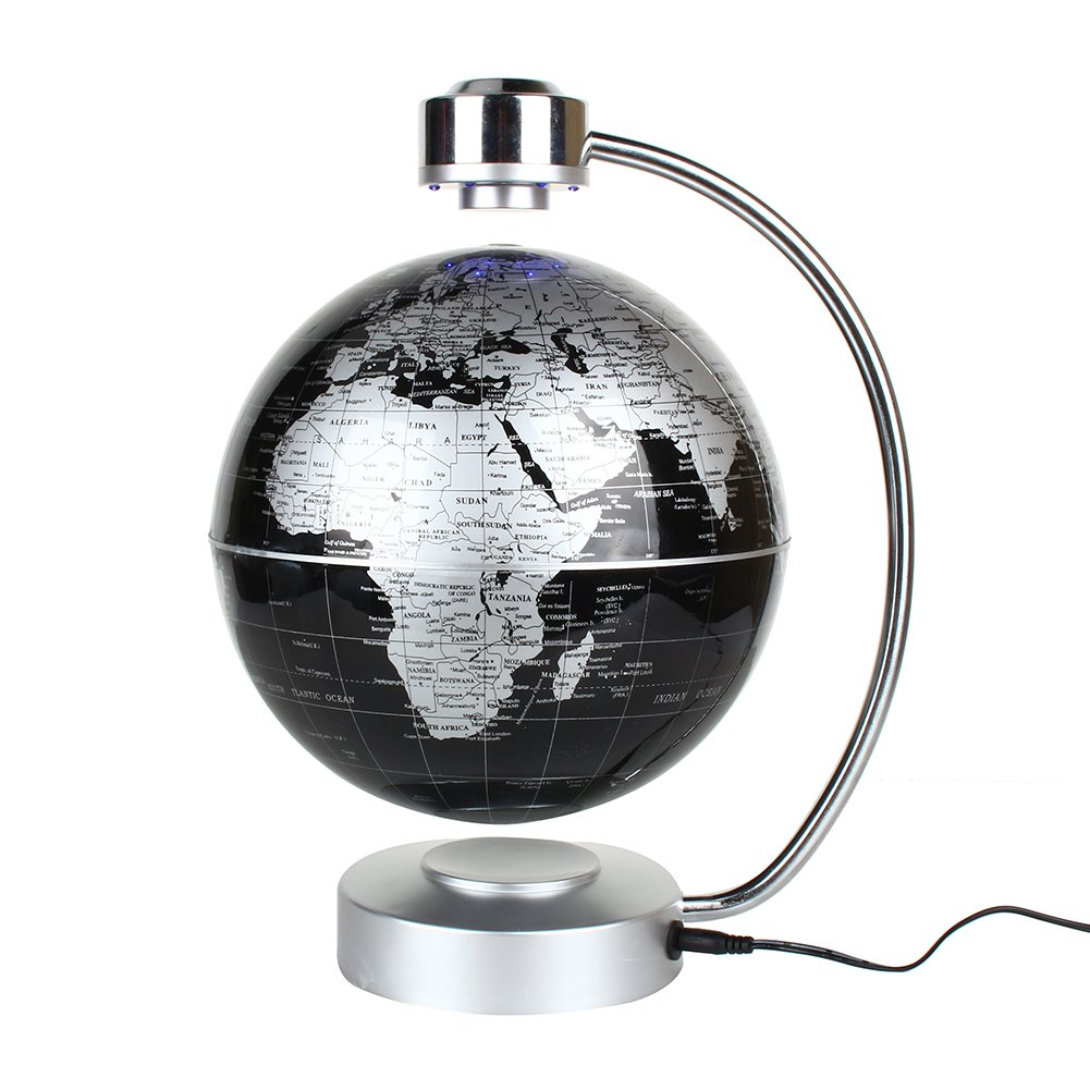 "Magnetic Levitation Floating World Map Globe  8"" Rotating Planet Earth Globe Ball with LED Desk Display Stand -Elegance Levitation Globe Gift for Kids Home Office[Black] ZJchao"