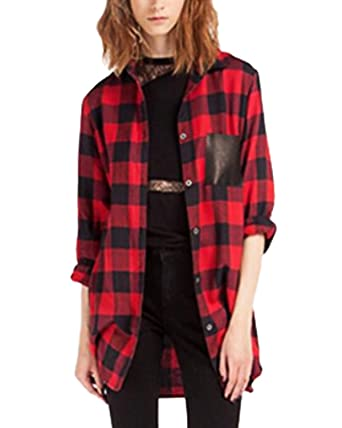 2e5a706b ZANZEA Women's Plaid Shirt Long Sleeve Blouse Black Red Check Pocket T  Shirts Lapel Tops Red