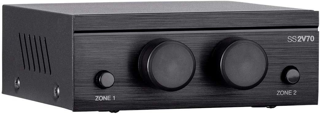 Monoprice SS2V70 70V 2-Zone Speaker Selector Single 2-Conductor Input 100-Watt Individual On//Off Switch and Volume Control