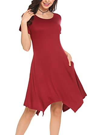 e04ad8800316 BLUETIME Women Short Sleeve Stretchy Loose Swing Dress with Pockets (S,  A-Wine