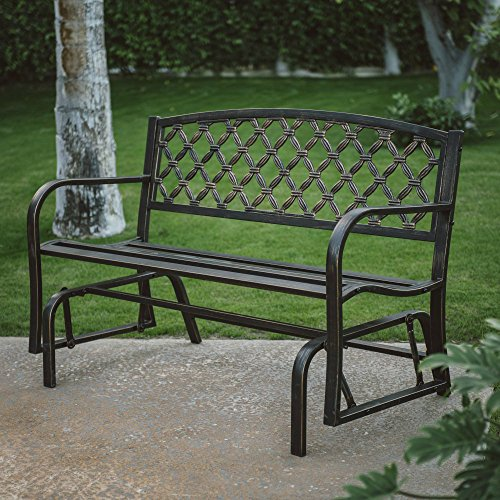 Garden Glider Bench (Outdoor Garden Metal Glider Bench, Crossweave Curved Back 4 ft. Deck Seat Furniture, Ideal for Backyard, Porch or Patio)