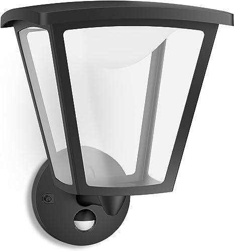 Philips myGarden Cottage Aplique para exteriores LED, con sensor de movimiento, luz blanca cálida, 4.5 W, equivalente a 37 W, IP44, color negro