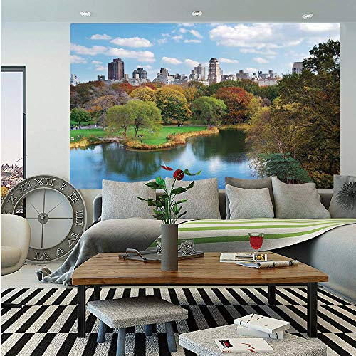 SoSung New York Wall Mural,Central Park in Autumn with Lake Trees and Manhattan USA American Nature Image,Self-Adhesive Large Wallpaper for Home Decor 83x120 inches,Multicolor (Best Walks In Manhattan)