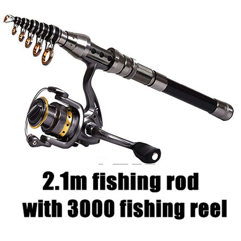 Green Telescopic Fishing Rod 1.5M2.4M and 5 5 1 Fishing Reel Wheel Portable Travel Fishing Rod Spinning Fishing Rod Combo