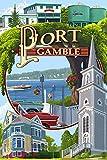 Port Gamble, Washington Town Scenes (9x12 Art Print, Wall Decor Travel Poster)