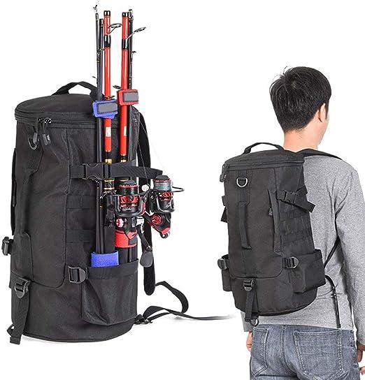 Kappha Rod Bag Rod Case Fishing Suitcase with Fishing Rod Holder Large Capacity Fishing Backpack for fishing rods Landing Net and Rod Holder